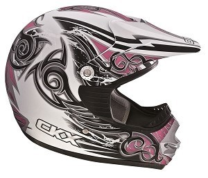 CKX Helmet TX-218 Youth White/Pink/Silver Mat